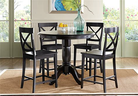 brynwood black  pc counter height dining set   stool traditional
