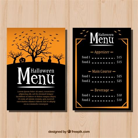 halloween menu template vector free download