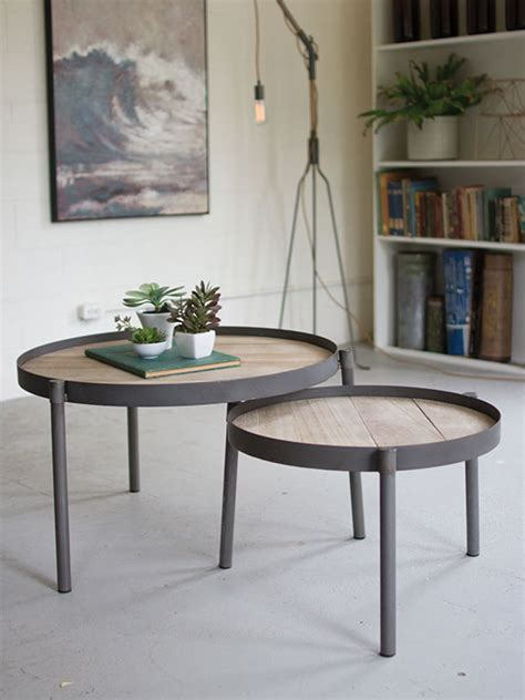 wood iron nesting table set modern furniture brickell