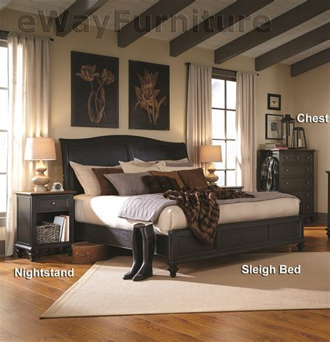 Black Sleigh Bedroom Set by Salem Antique Black Sleigh Bed Bedroom Set