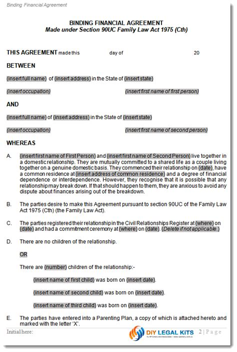 Free Legal Separation Agreement Template same sex cohabitation agreement gay lesbian de facto