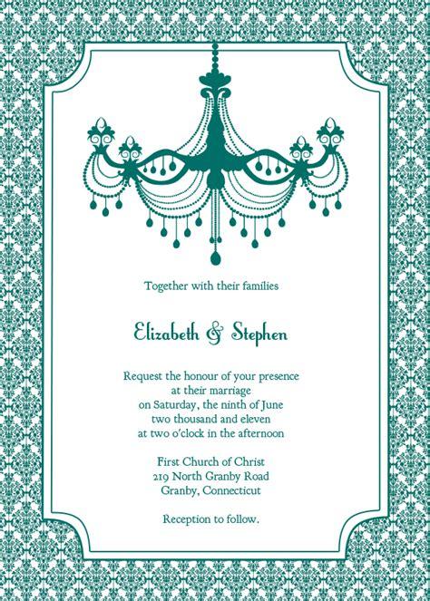 printableinvitationkits com vintage wedding invitation teal chandelier wedding