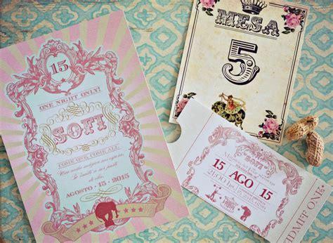 imagenes vintage para xv 161 una invitaci 243 n de 15 estilo circo vintage tarjetas de 15