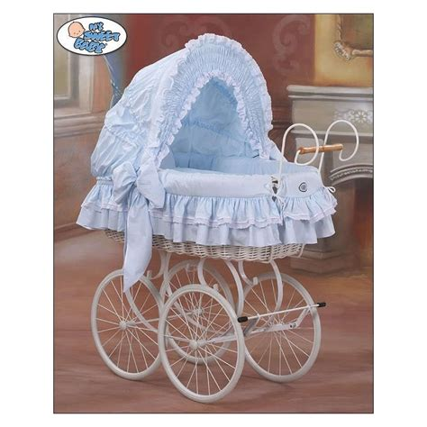 vintage white baby crib wicker crib moses basket vintage retro blue white