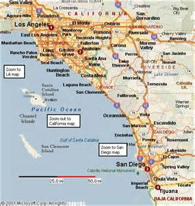 southern california attractions map california map of southern california california