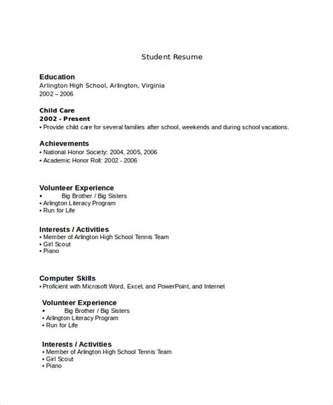 what should a resume look like for a highschool student sample