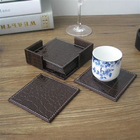 Coffee Cup Mat Coasters aliexpress buy 10x10cm 6pcs set square leather