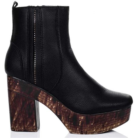 bamboo black ankle boots shoes from spylovebuy