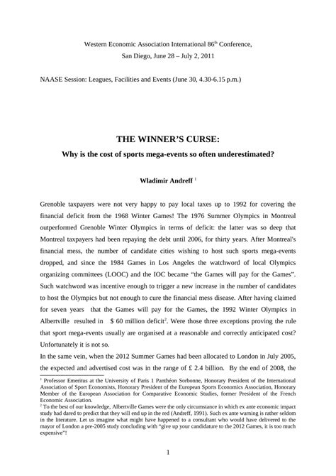(PDF) The winner's curse: Why is the cost of mega sporting