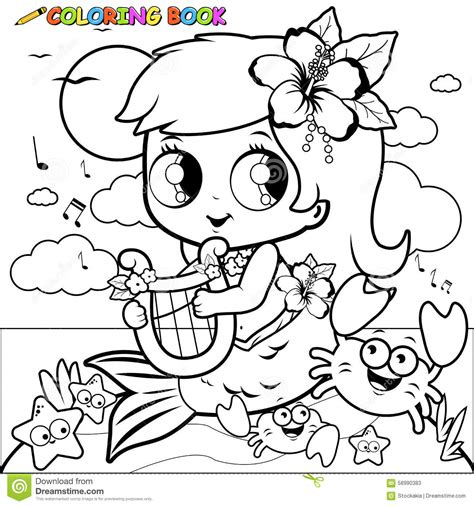 coloring book vector coloring page mermaid by the sea stock vector image