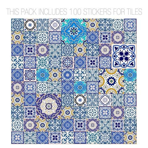 Oriental Wall Murals talavera traditional tile decals pack of 100
