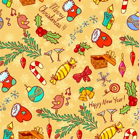 cute christmas pattern cute christmas seamless pattern vector 08 vector