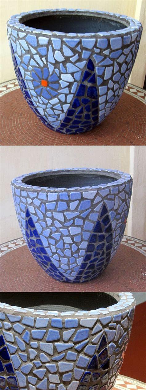 ceramic tiles for crafts diy mosaic blue flower pot mosaik blumentopf mosaique