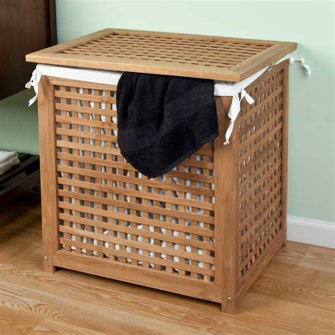 Teak Laundry Her With Lid Bathroom Wooden Laundry With Lid
