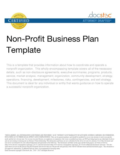 free non profit business plan template 3 best agenda