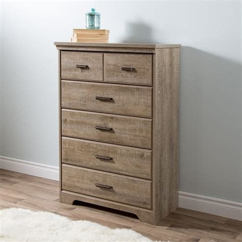 weston weathered oak 6 drawer dresser south shore versa 5 drawer wood chest in weathered oak