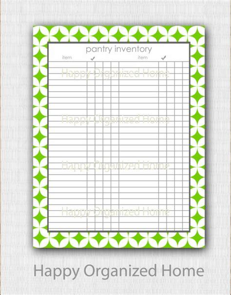 Home Pantry Inventory by Pantry Inventory Checklist Log Home Organization