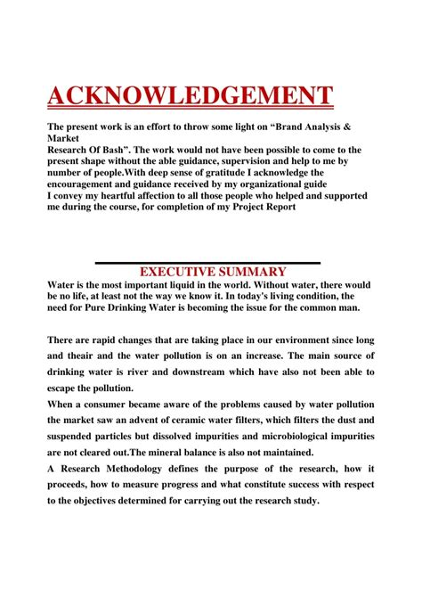 Acknowledgement Letter Project Report Write Acknowledgement Dissertation Sle Survey