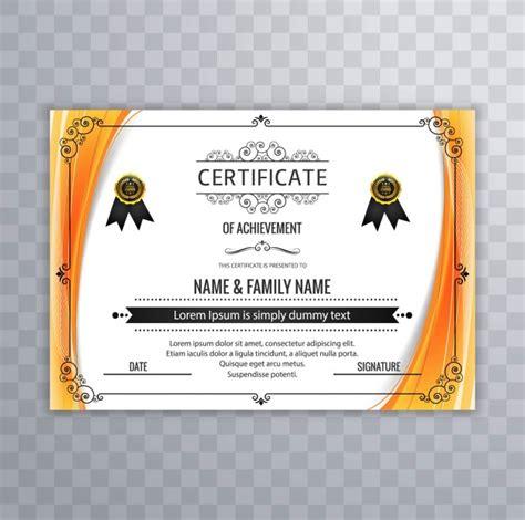 certificate design ai file free download modern certificate design with orange borders vector