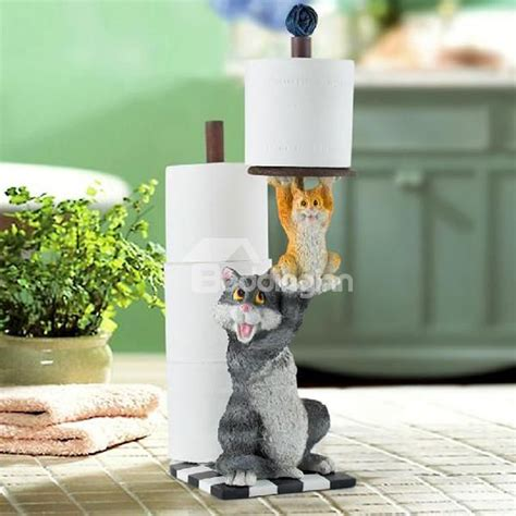 black white kitty toilet paper holder top class vivid mother and daughter cat paper holder new