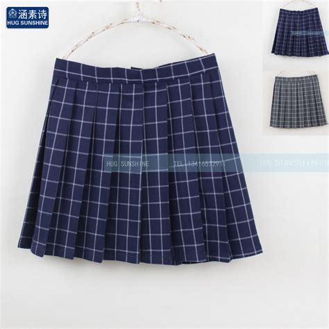 navy blue gray classical grid pleated skirts japanese