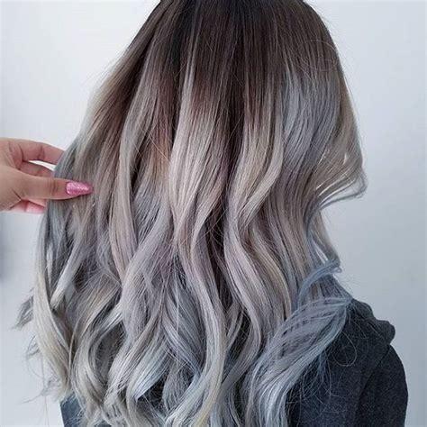 bayalage grey hair grey balayage long hair