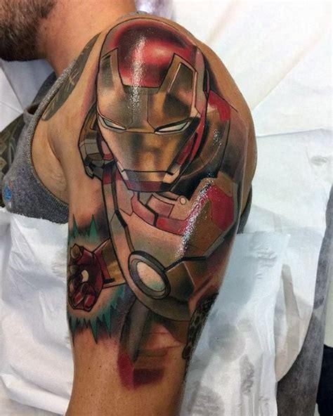 full body iron man tattoo 60 marvel tattoos for men superhero comic design ideas