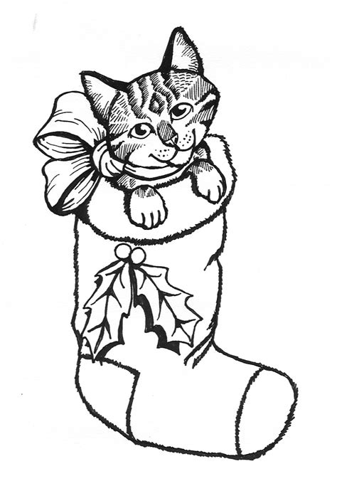 cat christmas coloring pages festival collections