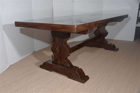 antique reclaimed french oak trestle dining table  sale