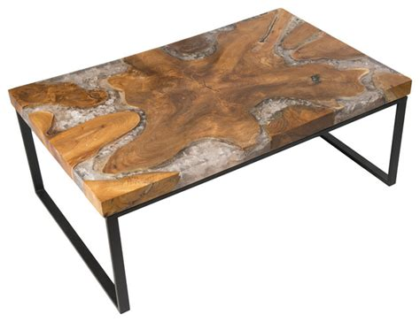 cracked resin coffee table modern coffee tables by