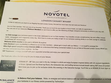 Promotion Letter Restaurant novotel canary wharf top stay and a big