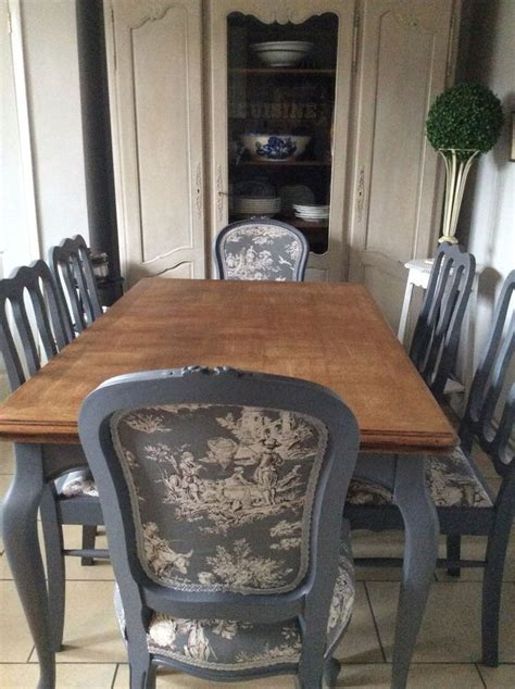 french blue shabby chic dining table and chairs toile fabric in home furniture diy furniture
