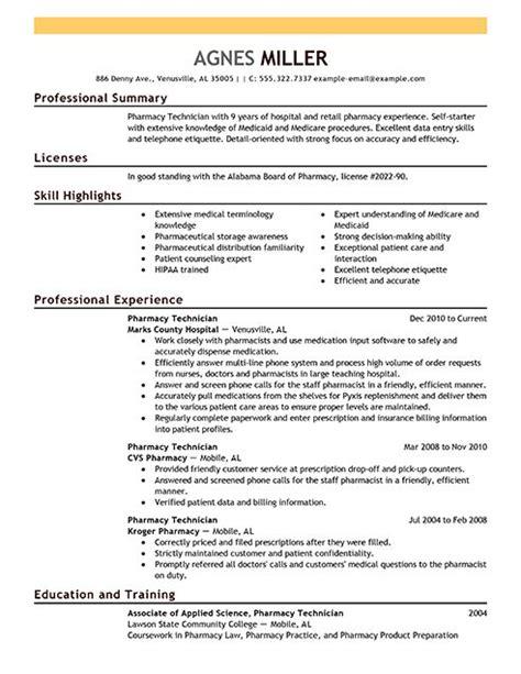 Pharmacy Tech Resume Sles by Pharmacy Technician Resume Exles Sle Resumes Livecareer Work