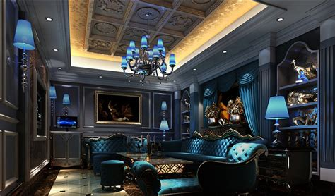 living room club blue light design for night club room download 3d house