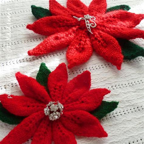 christmas flower poinsettia knit by soles craftsy