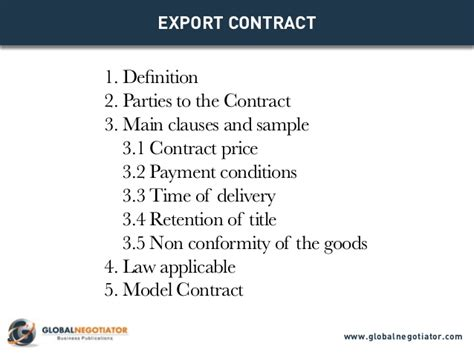 export contract contract template and sle