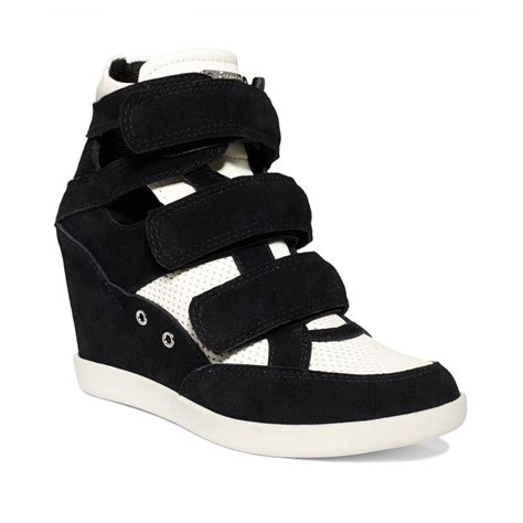 black and white wedge sneakers guess herra platform wedge sneakers in white black white