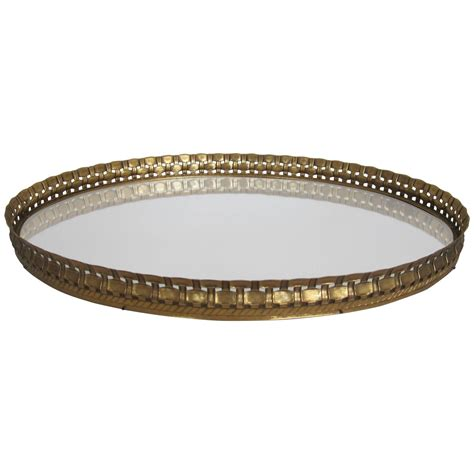 Oval Vanity by Beautiful Vintage Oval Brass And Mirror Vanity Tray At 1stdibs