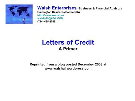Credit Letter Slideshare Letters Of Credit A Primer