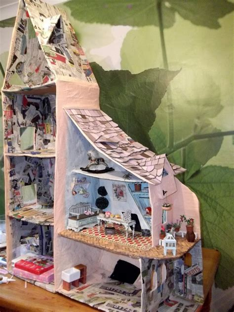 homemade dolls house homemade dolls house in progress fun pinterest