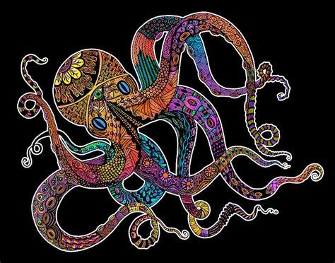 Home Decor Blogs India electric octopus on black digital art by tammy wetzel
