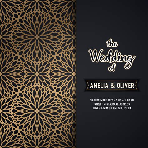 Wedding Card Design Patterns by Decor Pattern With Wedding Invitation Card Vector Vector