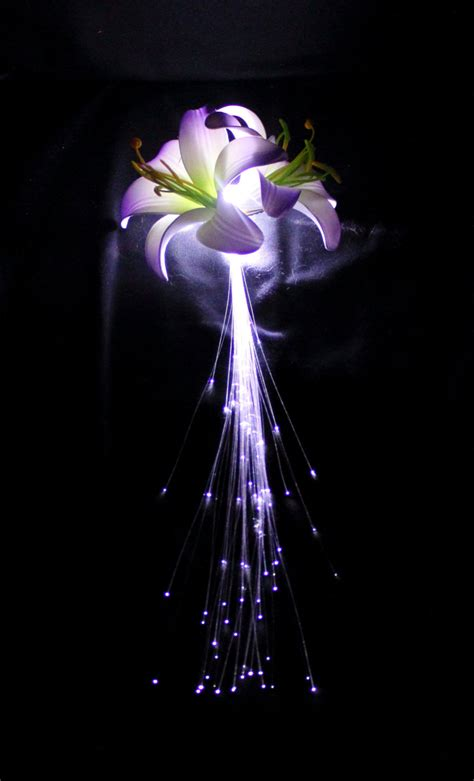 Fiber Optic Flower L by Light Up Fiber Optic Flower Hair Clip Solid By Pinkhalodesigns
