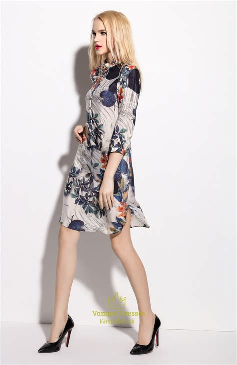 3 4 Sleeve Floral Print Shirt chagne floral print chiffon shirt dress with 3 4 length