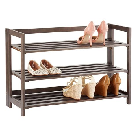 Shoe Rack For by 3 Tier Driftwood Folding Shoe Rack The Container Store