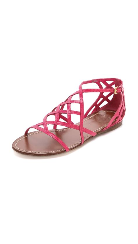 burch pink sandals burch amalie flat sandals in pink bougainville pink