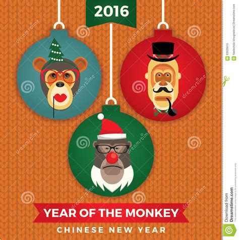 new year 2016 year of the monkey symbol vector illustration of monkeys symbol of 2016 stock