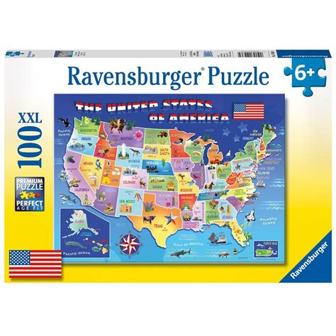 usa state map 100 pc jigsaw puzzle educational toys planet