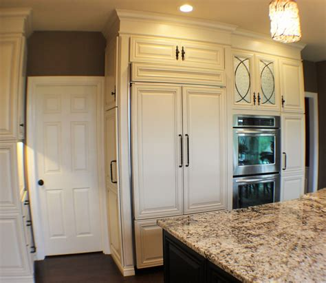 White And Dark Kitchen Cabinets by Panel Ready Refrigerator Kitchen Traditional With Built In