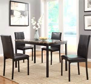 Marble Top Dining Room Sets Homelegance Tempe 5 Faux Marble Top Dining Room Set W Black Metal Base Beyond Stores